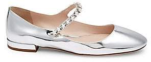 Miu Miu Women's Embellished Patent Leather Flats
