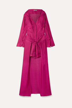 Hellessy Knotted Linen And Silk-blend Jacquard Maxi Dress - Plum