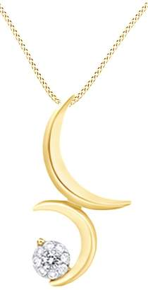 AFFY Round Cut White Natural Diamond Moon Pendant Necklace In 14k Gold (0.1 Cttw)