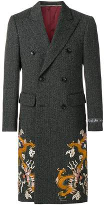 Gucci Herringbone coat with dragons