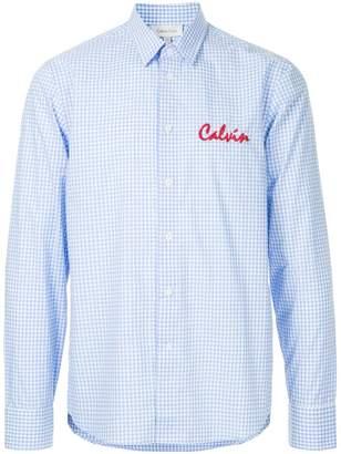 CK Calvin Klein logo embroidered gingham shirt