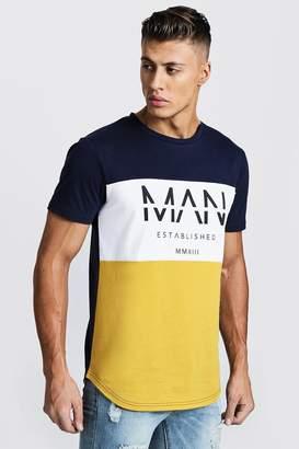boohoo Colour Block MAN T-Shirt With Curve Hem