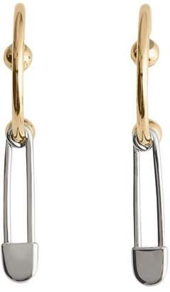 Burberry Kilt Pin Gold and Palladium-plated Hoop Earrings