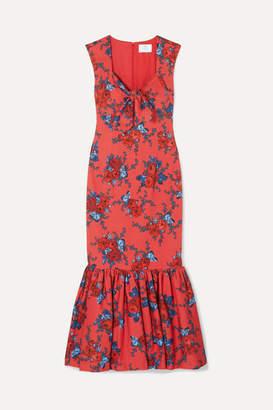 Rebecca De Ravenel Tie-detailed Floral-print Cotton-blend Maxi Dress - Red