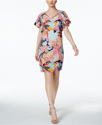 Msk Printed Flutter-Sleeve Shift Dress $69 thestylecure.com