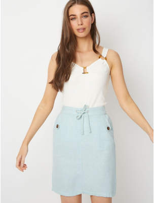 fd4bee971597c George Blue Linen Blend Knee Length Skirt