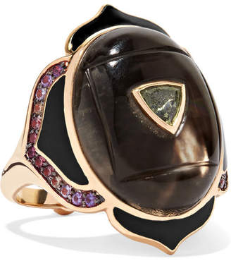 Noor Fares Muladhara 18-karat Gold And Enamel Multi-stone Ring