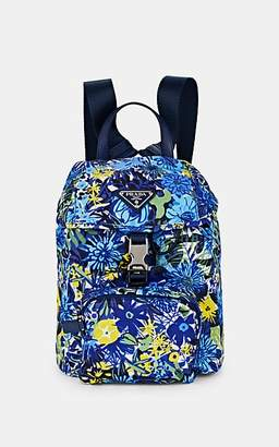 Prada WOMEN'S LEATHER-TRIMMED FLORAL BACKPACK - BLUETTE DIS. PRIMULE/BLUETTE DIS. PRI,