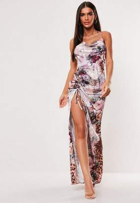 Missguided Pink Floral Leopard Print Cowl Neck Maxi Dress, Pink