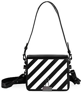 Off-White Women's Diagonal Stripe Flap Leather Shoulder Bag