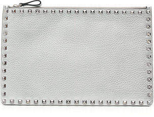 Valentino Rockstud Large Flat Metallic Clutch Bag