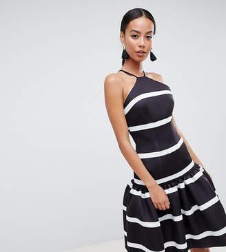 Asos Tall DESIGN Tall stripe scuba drop waist midi dress