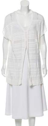Alice + Olivia Open-Knit Short-Sleeve Cardigan