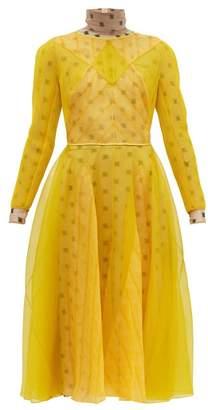Fendi Ff Embroidered Organza And Mesh Midi Dress - Womens - Yellow