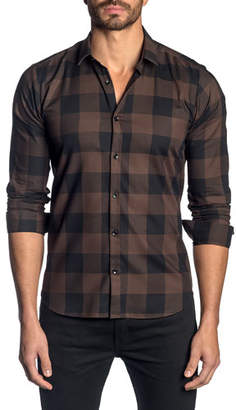 Jared Lang Men's Check Pattern Sport Shirt, Brown