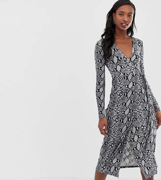 New Look Tall long sleeve midi dress in snake print