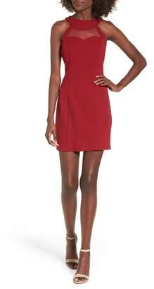 Speechless Strappy Illusion Yoke Sheath Dress