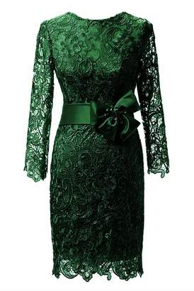 DINGZAN Vintage Sheath Lace Mother of the Bride Dresses Knee Length with Long Sleeves 18