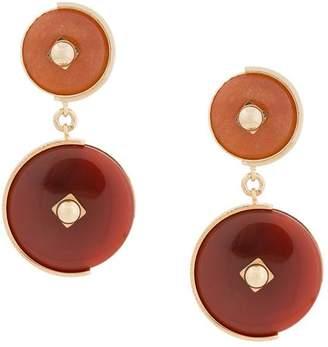 Crystalline clip-on stone earrings