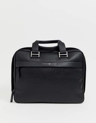 Tommy Hilfiger novelty faux leather mix small logo laptop bag in black