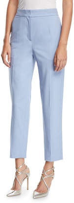 Oscar de la Renta Straight-Leg Cropped Stretch-Wool Pants