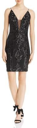 Aqua Sequined Mesh Mini Dress - 100% Exclusive