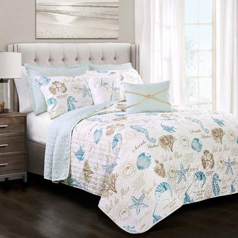 Blue & Taupe Harbor Life Quilt Set 7pc
