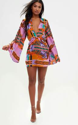 PrettyLittleThing Lilac Satin Scarf Print Kimono Sleeve Plunge Shift Dress
