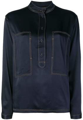 Closed contrasting stitch sheen blouse