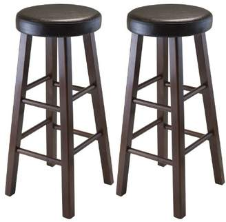 Winsome Wood Marta Assembled Round Bar Stool with PU Leather Cushion Seat and Square Legs