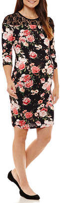 Three Seasons Maternity 3/4 Sleeve Floral Sheath Dress - Maternity