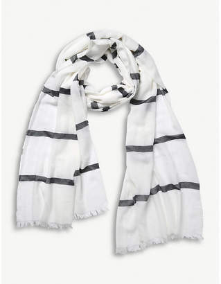 The White Company Stripe modal-blend scarf