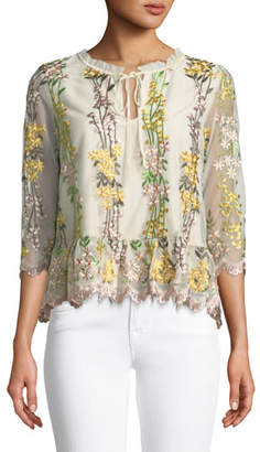 Cupcakes And Cashmere Almeta Floral Embroidered 3/4-Sleeve Top