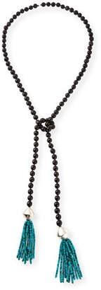 NEST Jewelry Black Horn & Turquoise Beaded Lariat Necklace