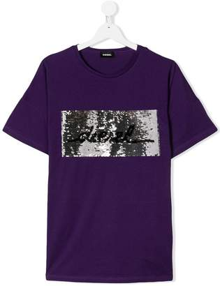 Diesel TEEN sequined logo T-shirt