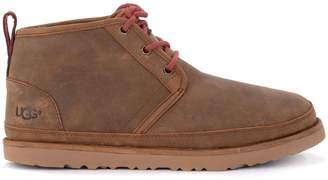 UGG Neumel Leather Brown Flower Ankle Boots.