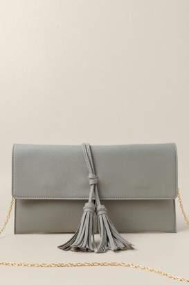 francesca's Octavia Tassel Clutch In Light Gray - Light Gray