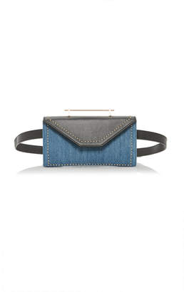 M2Malletier Leather and Denim Belt Bag