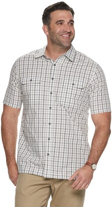 Croft & Barrow Big & Tall Classic-Fit Plaid Quick-Dry Dobby Button-Down Shirt