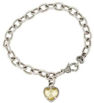 Judith Ripka Canary Crystal Fontaine Heart Charm Bracelet