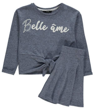 Bell George Blue e me Slogan Sweatshirt and Skirt Outfit