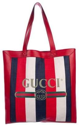 Gucci 2018 Logo Striped Medium Tote
