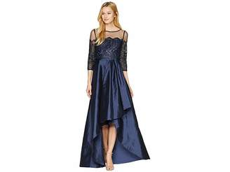 Adrianna Papell Long Sleeve Lace Illusion Bodice with Taffeta High-low Cascade Skirt
