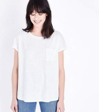 New Look White Organic Cotton Pocket Front T-Shirt