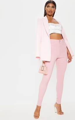 PrettyLittleThing Pink Popper High Waisted Stretch Jegging