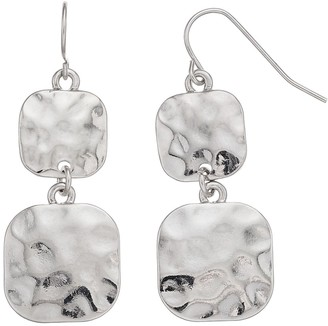 Sonoma Goods For Life Women's SONOMA Hammered Square Casting Fish-Hook Drop Earrings