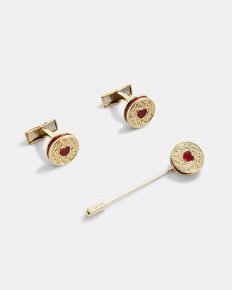 Ted Baker JAMMED Biscuit cufflinks and lapel pin set