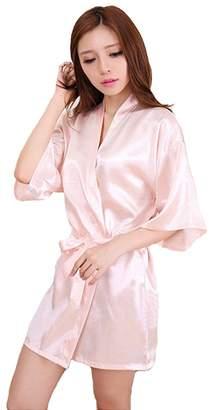 Honeystore Women's Short Lounge Kimono Robe Satin Bridesmaid Nightwear Silk Gown L