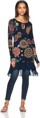 Desigual Women's Donovan Woman Flat Knitted Thin Gauge Pullover, Marine, XL