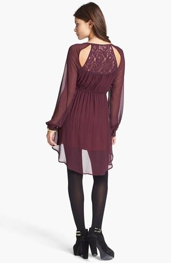 Fire Lace Back Pattern Chiffon Dress (Juniors)